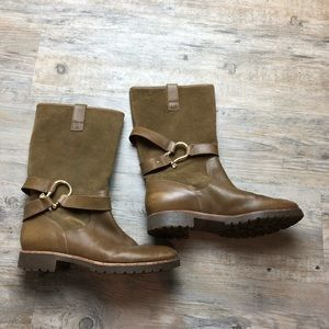 Sperry tan rain boots gold buckle